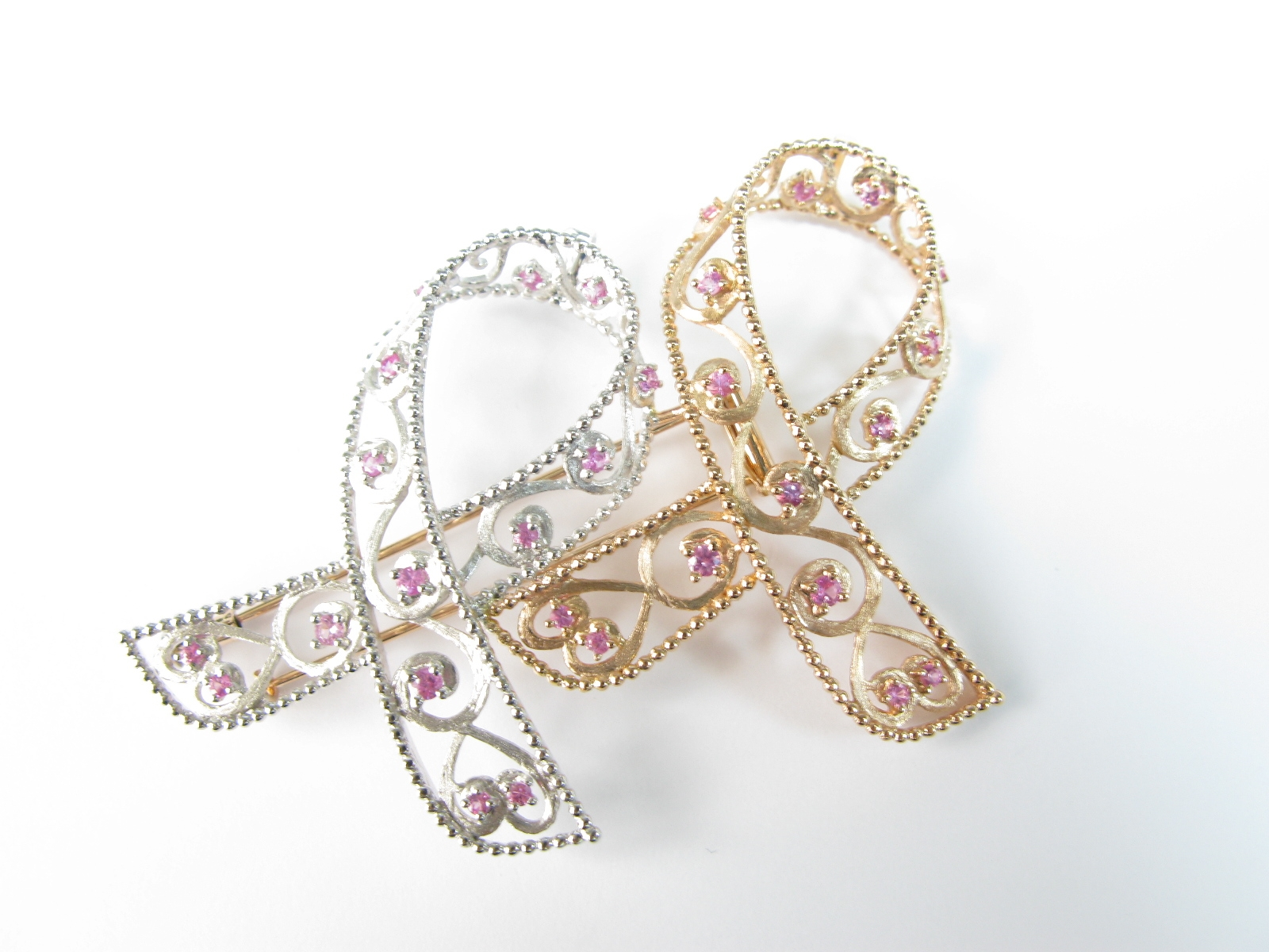 Self Photos / Files - 18K Rose Gold & Silver Sapphire Brooch